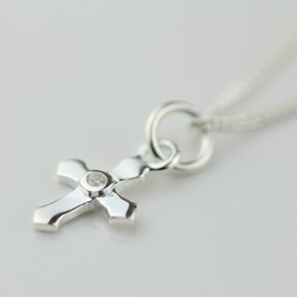 Silver Christening Cross Necklace