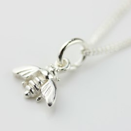 Miniature Silver Bee Necklace