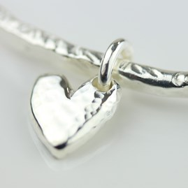 Stunning Silver Hammered Heart Bangle