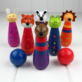 Hand Painted Wooden Woodland Animal Skittles