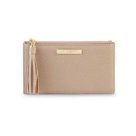 Katie Loxton Personalised Sophia Tassel Fold Out Purse In Taupe