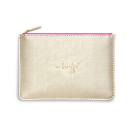 Katie Loxton Personalised Colour Pop Perfect Pouch 'Hey Beautiful' In Gold