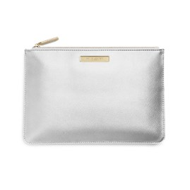 Katie Loxton Personalised Pebble Perfect Pouch In Metallic Silver