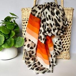 Leopard Print Scarf With Orange Stripes
