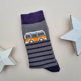 Men's Bamboo Camper Stripe Socks In Grey