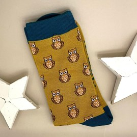 Men's Bamboo Owls Socks In Mustard