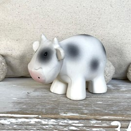 Natural Rubber Rattle & Bath Toy Cow