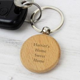 Personalised Solid Beech Wood Keyring
