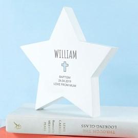 Personalised Christening Star Keepsake In Blue
