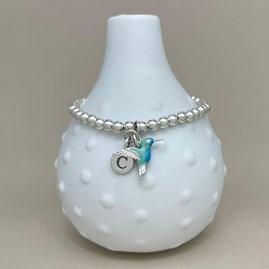Personalised Hummingbird Charm Bead Bracelet