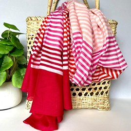 Pink and Red Scarf with Tri-Colour Stripes
