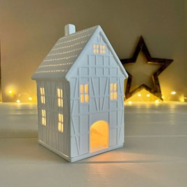 Porcelain Half-Timbered Large House Tealight Holder