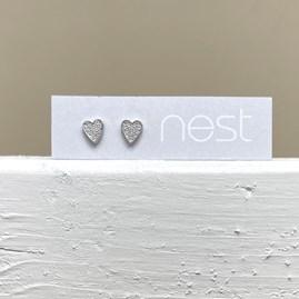 Silver and CZ Heart Stud Earrings