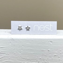 Silver and CZ Star Stud Earrings