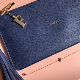 Katie Loxton Personalised 'Dream Big' Midnight Blue Tassel Bag