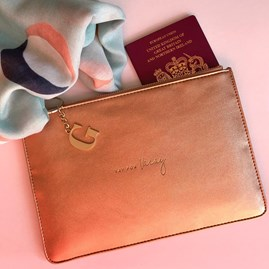Katie Loxton Personalised 'Yay For Vacay' Bronze Perfect Pouch