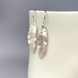 Solid Silver Banana Leaf Earrings