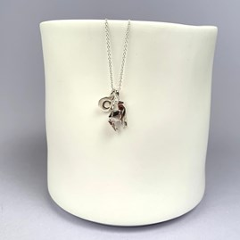 Personalised Solid Silver Origami Stag Necklace