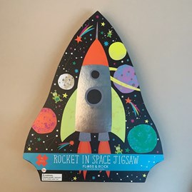 Rocket in Space 40 Piece Shaped Jigsaw Puzzle