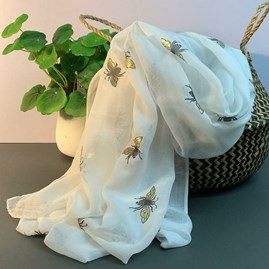 Metallic Bees Scarf In White