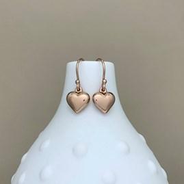 Rose Gold Puffed Heart Earrings