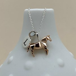 Personalised Rose Gold Origami Horse Necklace