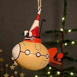 Santa In A Yellow Submarine Hanging Decoration