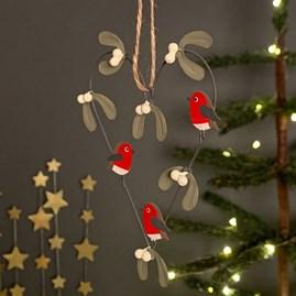 Robins And Mistletoe Heart Hanging Decoration