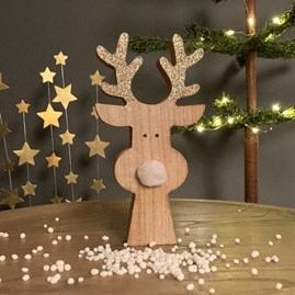 Wooden Reindeer Decoration With White Furry Nose
