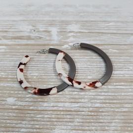 Two Tone Large Resin Hoop Earrings