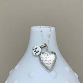 Personalised Silver Hammered Heart Necklace