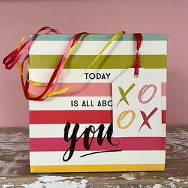 'Today Is All About You' Red Striped Small Gift Bag