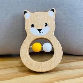 Wooden Fox Baby Rattle