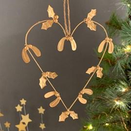 Gold Holly & Mistletoe Heart Decoration