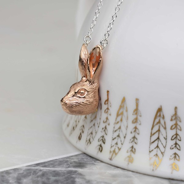 Silver or rose gold hare pendant aloadofball Gallery