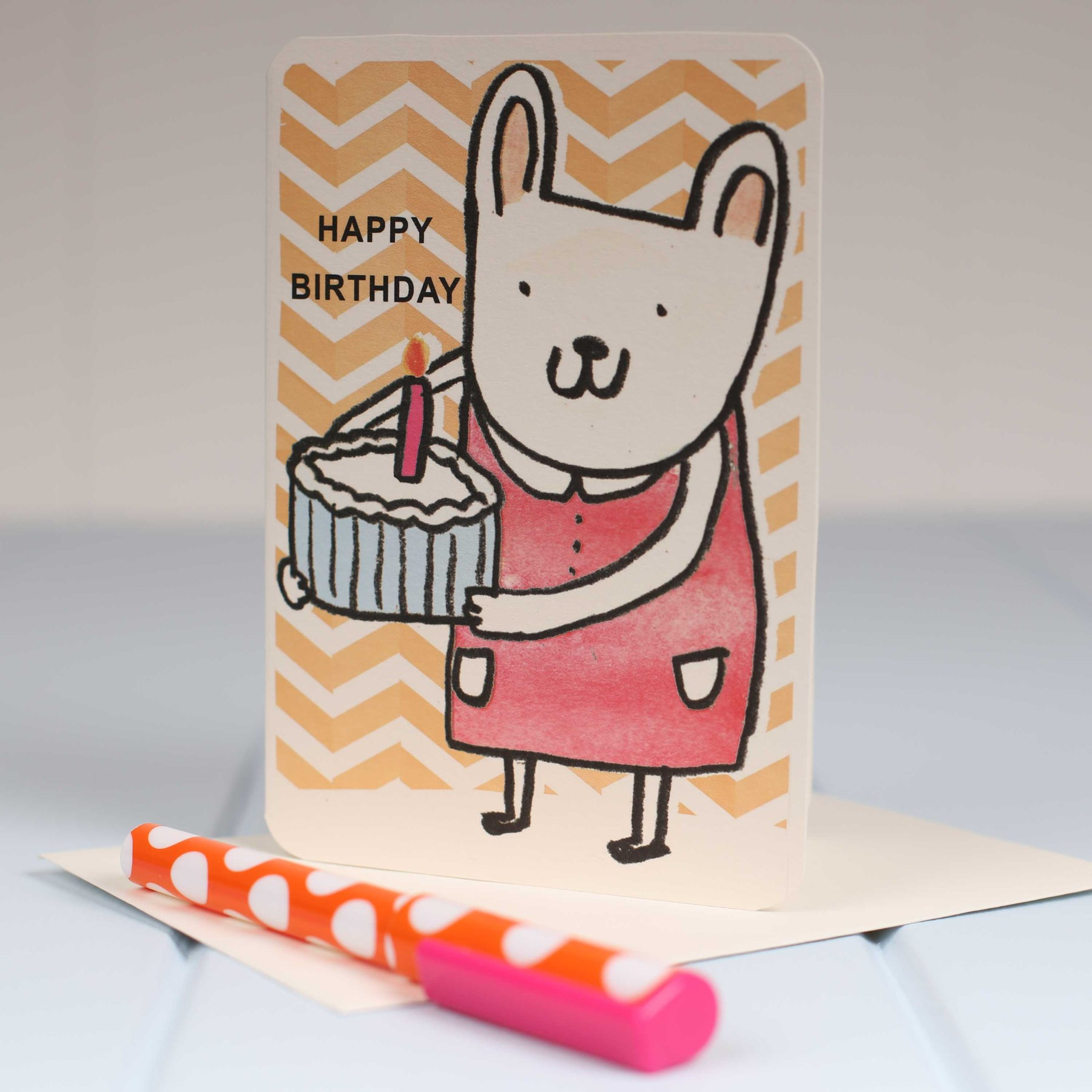 Bunny Candle Cake Birthday Card