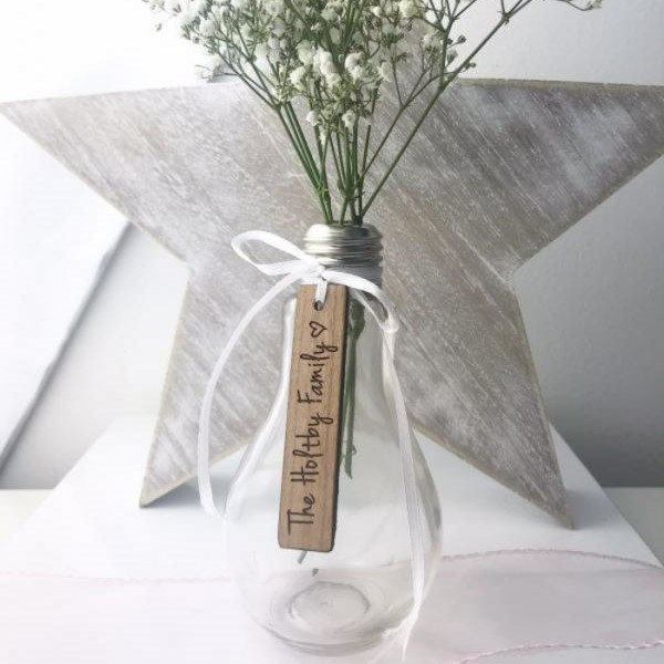 & Personalised Tag Light Bulb Glass Vase