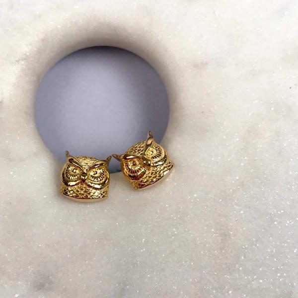 5121e6b30 18ct Gold Owl Stud Earrings