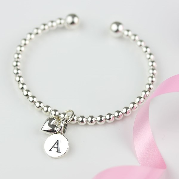 c6062f626ca66 Personalised Children's Silver Heart Bead Bangle
