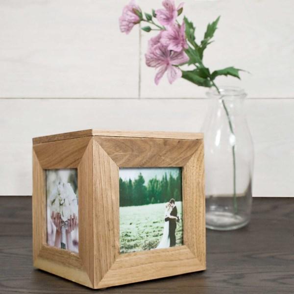 Personalised Small Oak Photo Cube