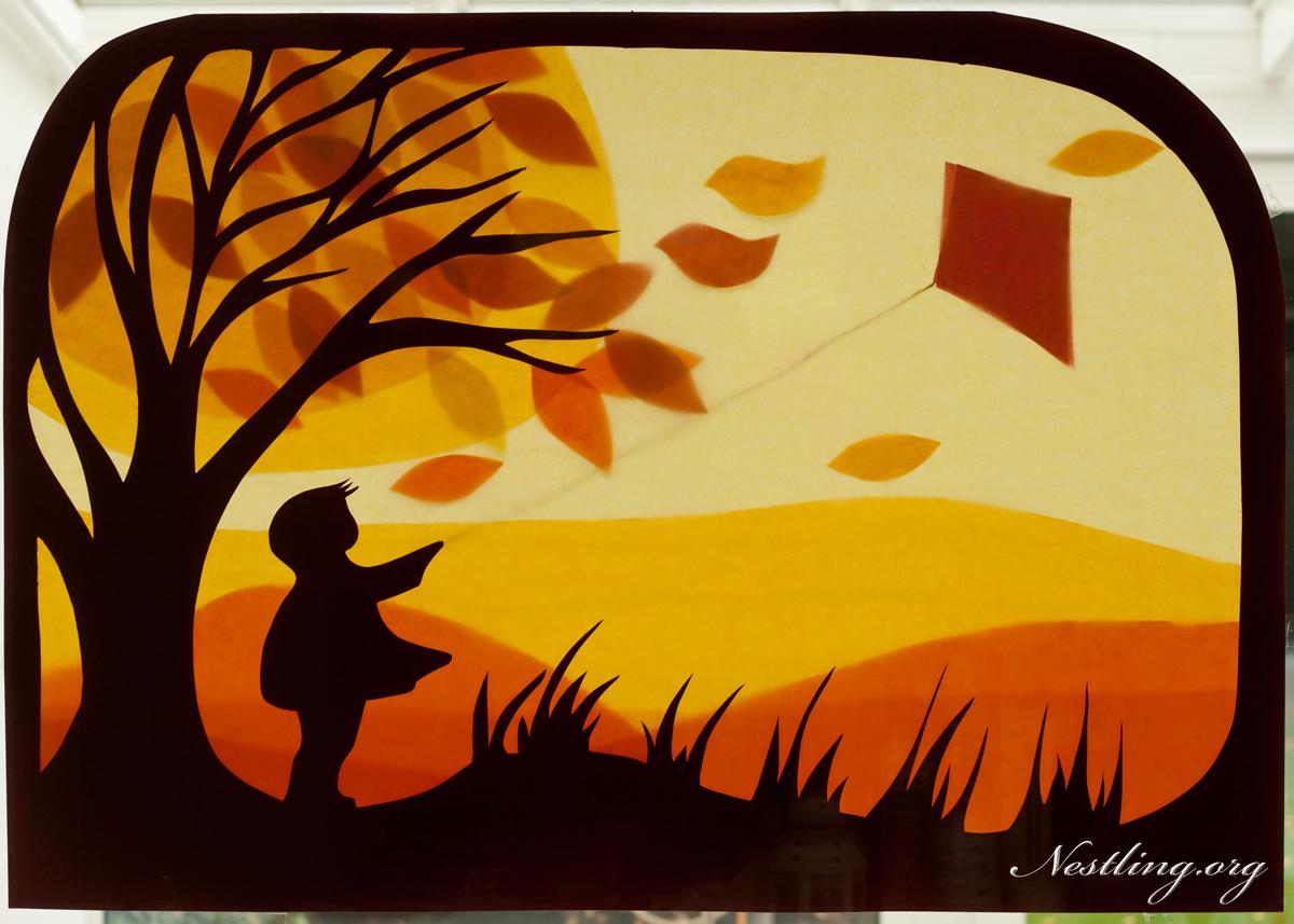 Herbststimmung basteln mit kindern nestling - Fensterbilder herbst ...