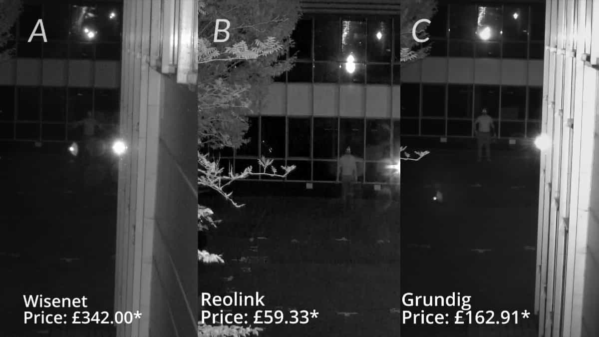 comparison of infrared performance of three bullet cameras