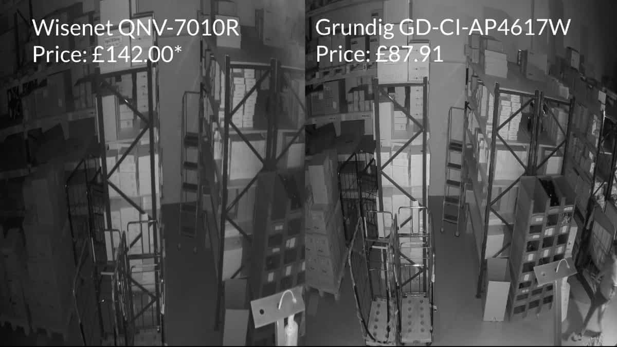 infrared performance of two dome cameras