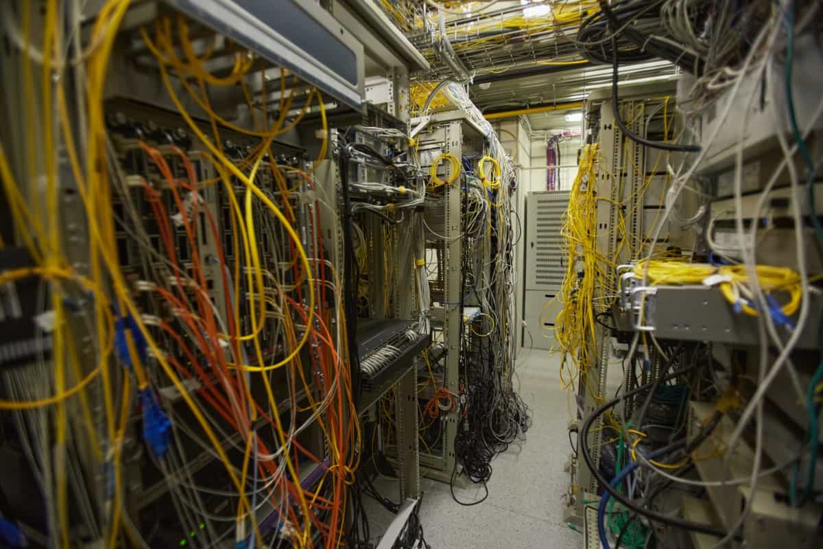 messy cabling in server room