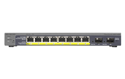 Netgear ProSAFE GS110TP 8 Port POE Gigabit Switch with 2 SFP ports