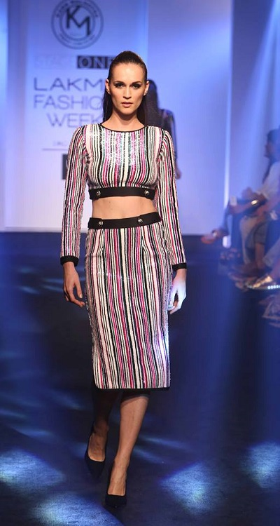 Party the night away in striped co-ords @ Karn Malhotra @ LFW SR16