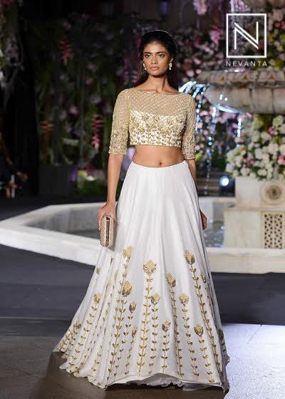 Golden and white lehenga from Manish Malhotra