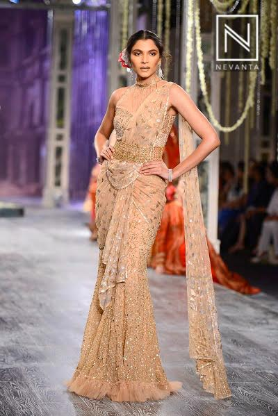 Saree draped differently as a gown from Tarun Tahiliani