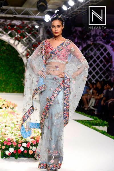 Light blue floral sheer saree from designer Varun Bahl