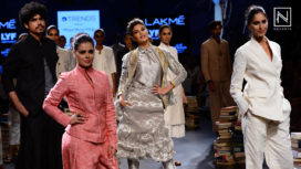 Jacqueline Shimmers in Silver at LFW WF '16